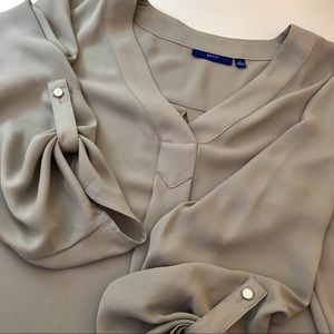 NWOT Apt 9 Gray Chiffon Quarter Sleeve Work Blouse